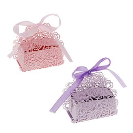 Wholesale DIY Romantic Rose Candy Box Cookie Gift Favor Box for Wedding Party with Ribbon Purple Pink Event Party Supplies Pack H15158