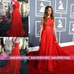 Wholesale Rihanna Grammys Red Carpet Celebrity Dresses Chiffon Crisscross Halter Backless Cool Fashion Wedding Evening Party Prom Plus Size Gowns