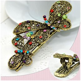 Wholesale Womens New Fashion Rhinestone Hollow Out Butterfly Hair Clip Hairpin Bridal Party Hair Accessories Headwear F60SS0167