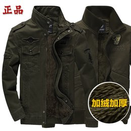 Wholesale Fall Military Style for men Winter fleece jacket Airborne Division standing collar plus size Coats Army Warm Bomber Jackets