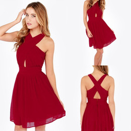 Wholesale Cheap Homecoming Dresses Under High Neck Sexy Backless Chiffon Red Cross Back Short Party Prom Wear Plus Size Mini Cocktail Gowns