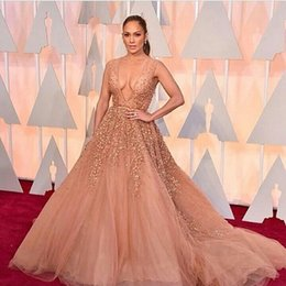Wholesale Custom Made Oscar Red Carpet Celebrity Dresses Sheer Beaded Tulle Elie Saab Evening Gowns Prom Party Dress