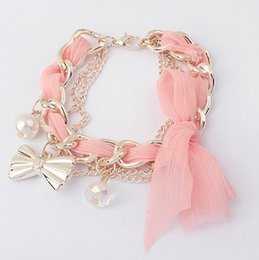 Wholesale 2014 New Arrival Fashion Jewelry Women pendants fashion cute lace butterfly bow pearl exquisite hollow Charm bracelet Color