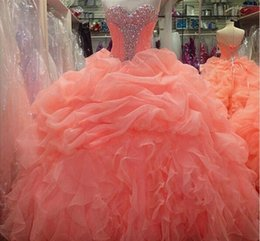 Wholesale Hot Sale Sweetheart Beaded Ball Gown Real Orange Quinceanera Dresses Fashion Vestidos De Anos Sweet Dress