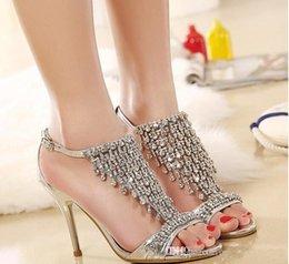 Wholesale Bling Bling Crystal High Heel Gold Silver Rhinestone Bridal Shoes Wedding Shoes Sandal Bridal Shoes Evening Prom Shoes Cinderella Shoe