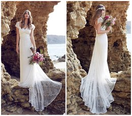 Wholesale 2015 A Line Anna Campbell Bohemian Wedding Dresses Sweetheart Neckline Capped Sleeves Lace Summer Beach Boho Wedding Dresses Backless