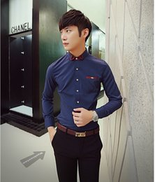 Wholesale 2015 autumn and winter new Korean temperament shirt shirt fashion casual wave of men to fight color shirt tide male shirt jeans men