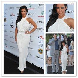 Wholesale 2016 Celebrity Dresses Kim Kardashian Halter High Neck Sleeveless White Chiffon Floor length Sexy Evening Gowns Red Carpet Dresses HM0059