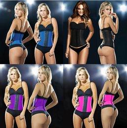 Wholesale 2015 hot waist body shaper sexy women Deportiva Sport Latex Waist Cincher steel bone corset top Ann Chery Style black underbust Plus XS XL