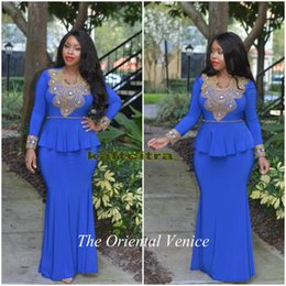 Wholesale Royal Blue Long Sleeves Mermaid Turkish Evening Dresses Gold Beaded Sequin Peplum Morrocan Dubai Arabic Evening Gowns Prom Dresses