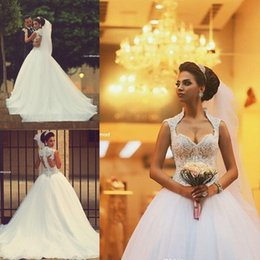 Wholesale Appliqued Ball Gown Wedding Dresses Sweetheart High Neck Illusion Sleeve Tulle Bridal Dress White Lace Sheer Back Beaded Wedding Dress