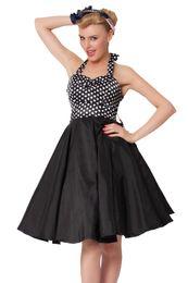 Wholesale In Stock Bridesmaid Dresses Strapless Retro Bridesmaid Ball Gown Dresses Square Zipper Knee Length Black Taffeta Adult PROM Dresses