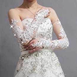 Wholesale Latest luxuriant lace applique wedding dress gloves tulle white nail bead the bride gloves wedding accessories