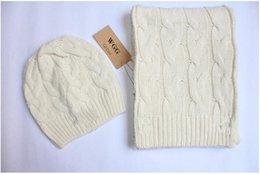 Homens e mulheres novos inverno crochet lenços chapéu conjuntos marca WGG