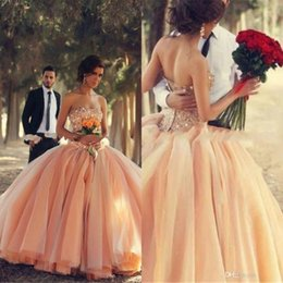 Wholesale 2015 Champagne Quinceanera Dresses Coral Organza Crystals Beaded Laces up Pageant Ball Gown Debutante Dress vestidos de ga Ball Gown