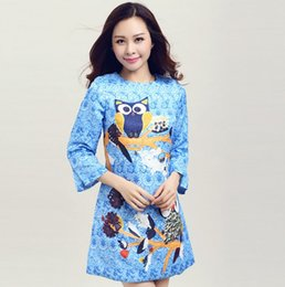 Wholesale Hot Autumn Women s Long Sleeve Cute Owl Printed Dress Ladies Clothes Organza Casaul Dresses For Big Girls Clothing Party Dressy Blue M2329