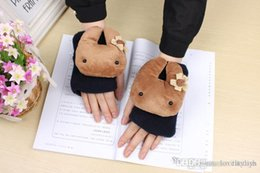Wholesale 2014 Bestsellers Cute Animal Cartoons Mitts Student Cartoons Double Thick Winter Gloves Color Random Christmas gift