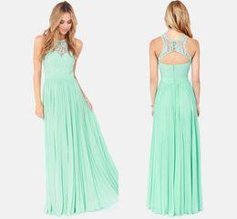 Wholesale Cheap Chiffon Lace Long Mint Bridesmaid Dress Under Party Dress Prom Dress Backless Vestidos wedding party dresses