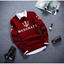 Wholesale New Winter Warm High Quality Men Sweater Korean Fashion Full Sleeves Maserati Solid Color Warm Soft Cotton Pullover