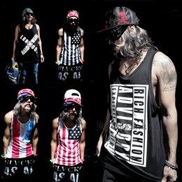 Wholesale 2015 New Fashion Summer Men Clothing American Flag Loose T Shirt Vest Tank Top Men Bodybuilding Sports Tops Tee M XL