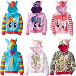 Varejo o zipper das crianças da minha menina pequena do pônei encapuçado Outwear a camisola dos Hoodies das meninas do revestimento a camisola dos miúdos jaqueta longa do hoody da luva dos homens 10 estilos