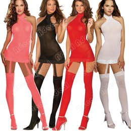 Wholesale Women s Fashion Sexy Hot Temptation Pajamas Lace Tops G string Socks Maid Costumes Set SV002851