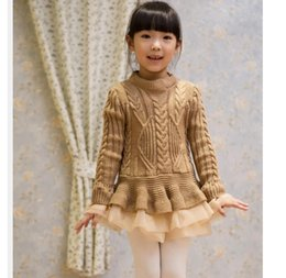 Wholesale 2015 Spring Kids Girls Knit Sweater Dresses Baby girl lace TUTU Winter princess jumper pullover dress
