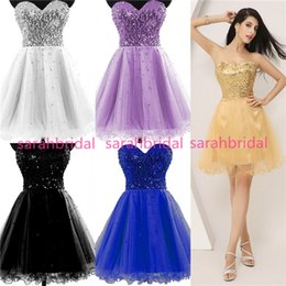 Wholesale Short Gold Sequin Tulle Graduation Dresses For Homecoming Prom Sweet Sixteen Dance Party Gowns Hot Sale Plus Size Lace up Under