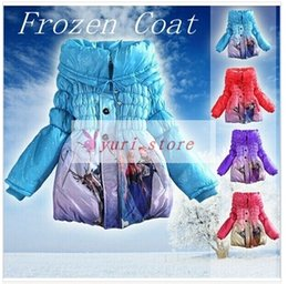 Wholesale 2014 New Winter Frozen Girl Cotton Warm Coats colors options Suit for T lapel long styles EMS fast ship