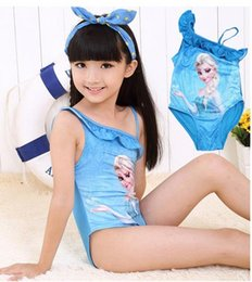 Wholesale frozen Princess Elsa Anna Kids Swimwear frozen Girls condole swimsuit FROZEN CARTOON children s clothing Beach Wear