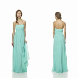 Wholesale Lime Green Chiffon Long Bridesmaid Dresses Strapless ruched Empire Charming Promotioned Party Gowns Fast Delivery