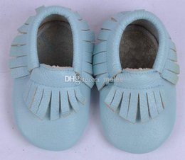 Wholesale Baby moccasins soft sole moccs Head layer cowhide Leather prewalker booties babies fringe cow leather moccasin shoes maccasions shoe
