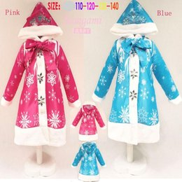 Wholesale 2015 Hot sale Christmas Cosplay Costume Frozen Snowflake Coat For Girls Hooded Jacket Kids Winter Clothes Children Outerwear