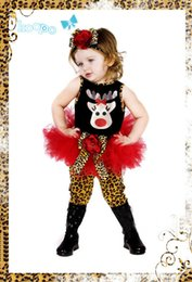 Wholesale 5 Set New Baby Newborn Toddler Girl Boy Child Hallowmas Christmas Reindeer Vest Leopard Print Skirt Pant Headwear Outfit S0140387