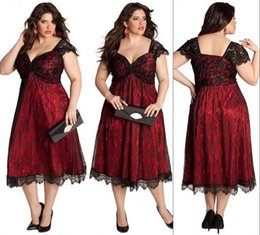 Wholesale Fashion Plus Size Lace Evening Gowns Tea Length Sweetheart Capped Sleeves Cocktail Party Bridesmaid Mother Dresses Special Occasion Hot