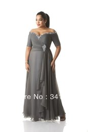 Wholesale 2015 Custom Made Plus Size Dresses Evening Wear Bead Sequins Off Shoulder Ruched Gray Chiffon Prom Dress Mother Of The Bride Gowns Ankle