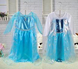 Wholesale Elsa Anna Girl s Costume dresses tulle Long sleeve baby girl dress princess girls party dress