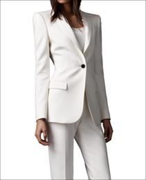 Wholesale 2015 Ivory women pant suits shawl lapel Long Sleeve fashion ladies suits slim fit one button back suits for women ent jacket pants