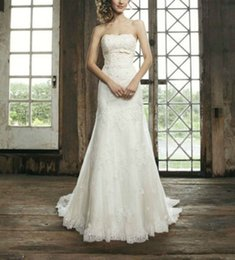 Wholesale 2014 White A Line Strapless Neck Covered Button Wedding Dresses Empire Court Train Lace Ribbon Long White Bridal Gowns YQ
