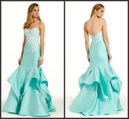 Wholesale Mermaid Mikado Embroidered Lace Prom Pageant Dresses Aqua KR Sweetheart Sleeveless Ruffle Formal Party Dress Back Zipper Evening Gowns