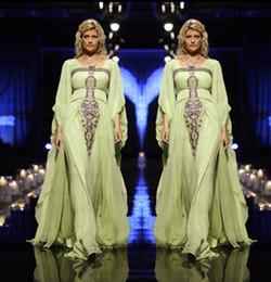 Wholesale 2015 New Arrival A Line Lime Green Chiffon Abaya Rhinestones Long Sleeve Muslim Maxi Dress Dubai Kaftan Arabic Evening Dresses