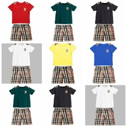 Wholesale 2015 New Kids summer suit Kids clothing baby boy clothes plaid boy outfits baby boy suits kids summer set LJJD2889