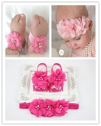 Wholesale 15 sets Trial Order Barefoot Baby Sandals Matching Triple Chiffon Flower Headband