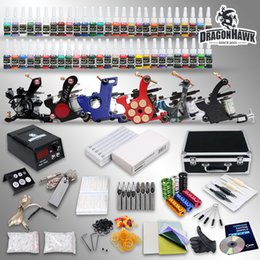 Wholesale Complete Tattoo Kit needles Machine Guns Power Supply Color Inks D187GD