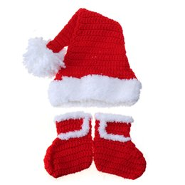 Wholesale Newborn Baby Christmas Costume Hat Shoe Crochet Outfits Toddler Infant Autumn Winter Knit Caps Shoes Photography Photo Props