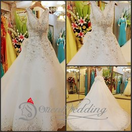 Wholesale V Neck Shiny Ball Gown Crystal Sequins Lace Edge Tulle Wedding Dressses With Beaded Bow Knot Chapel Train Bridal Dresses