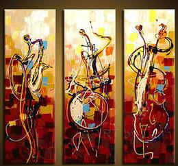 нет Оптовая свободная перевозка груза Ручная роспись стены искусства Abstrac украшений играют на музыкальных инструментах Картина маслом на холсте 3шт / набор не Рамку