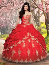 Wholesale Ball Gown Quinceanera Dresses Sweetheart Ruched Pleat red Chinese New Unique Lovely Open Back Dresses Quinceanera Gowns Evening Gown