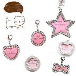 Cristais Animais de estimação Dog Collar encantos liga ID Nome ID Anti Lost Cat Cães ID Tag pingentes encantos com Rhinestones 7styles