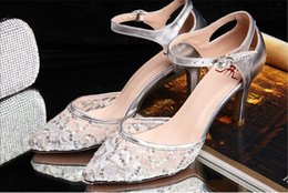 Wholesale Silver Sequin Wedding Shoes Elegant Lace Bride Wedding Dress Shoes Sexy Sandals Lady Party Prom Shoes